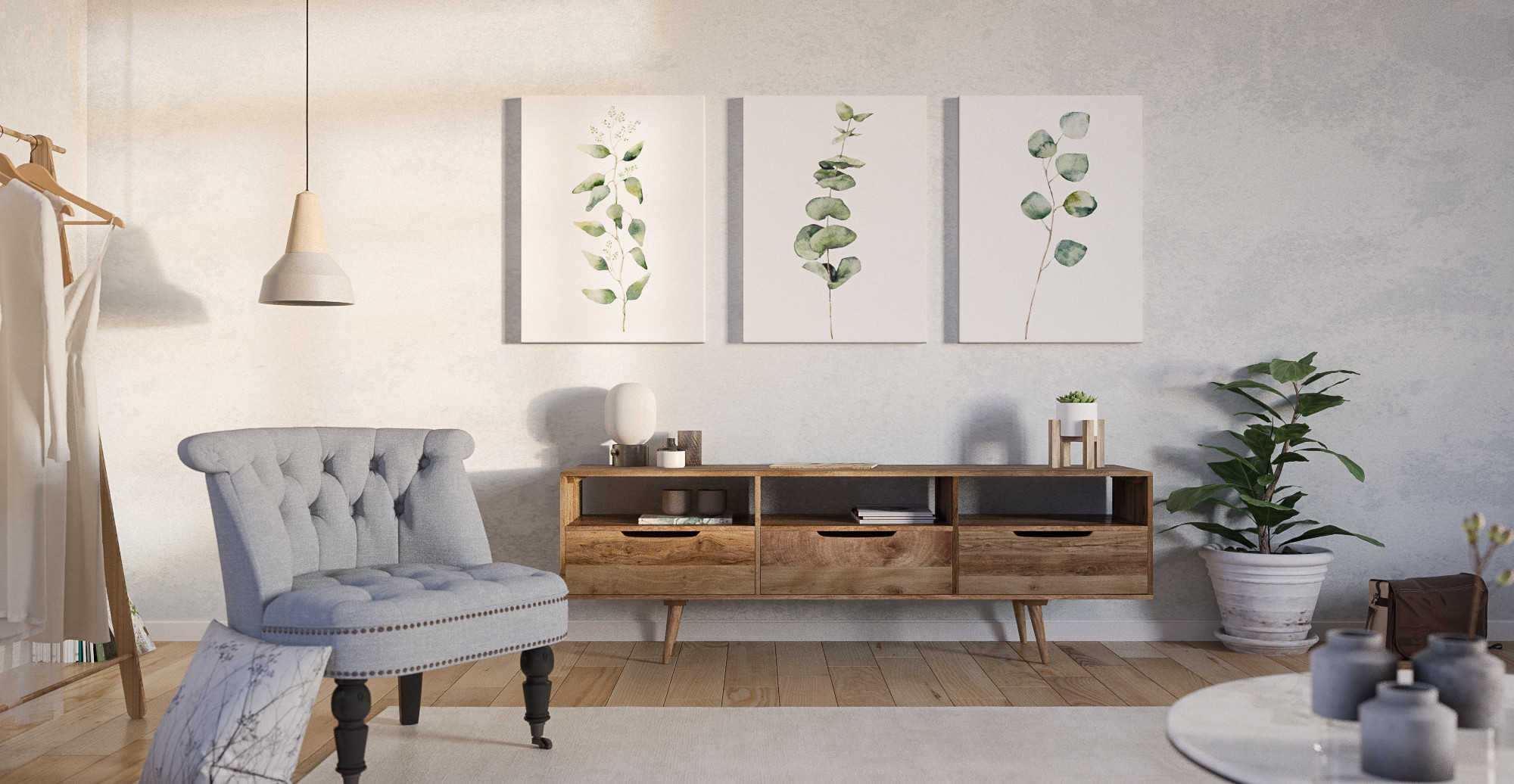 Brosa The Eucalyptus Triptych Set of 3 styled in classic traditional living room