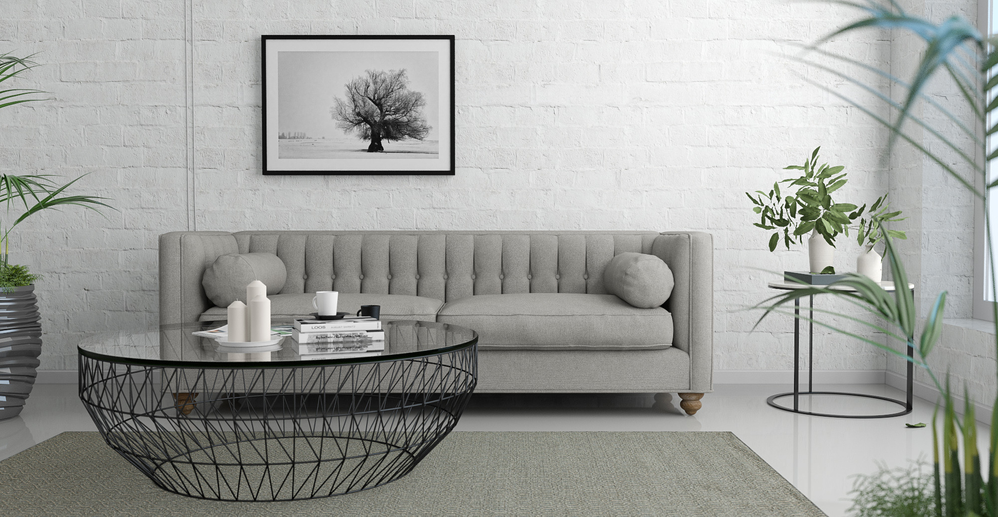 The Brosa Frost Print styled in modern contemporary living room