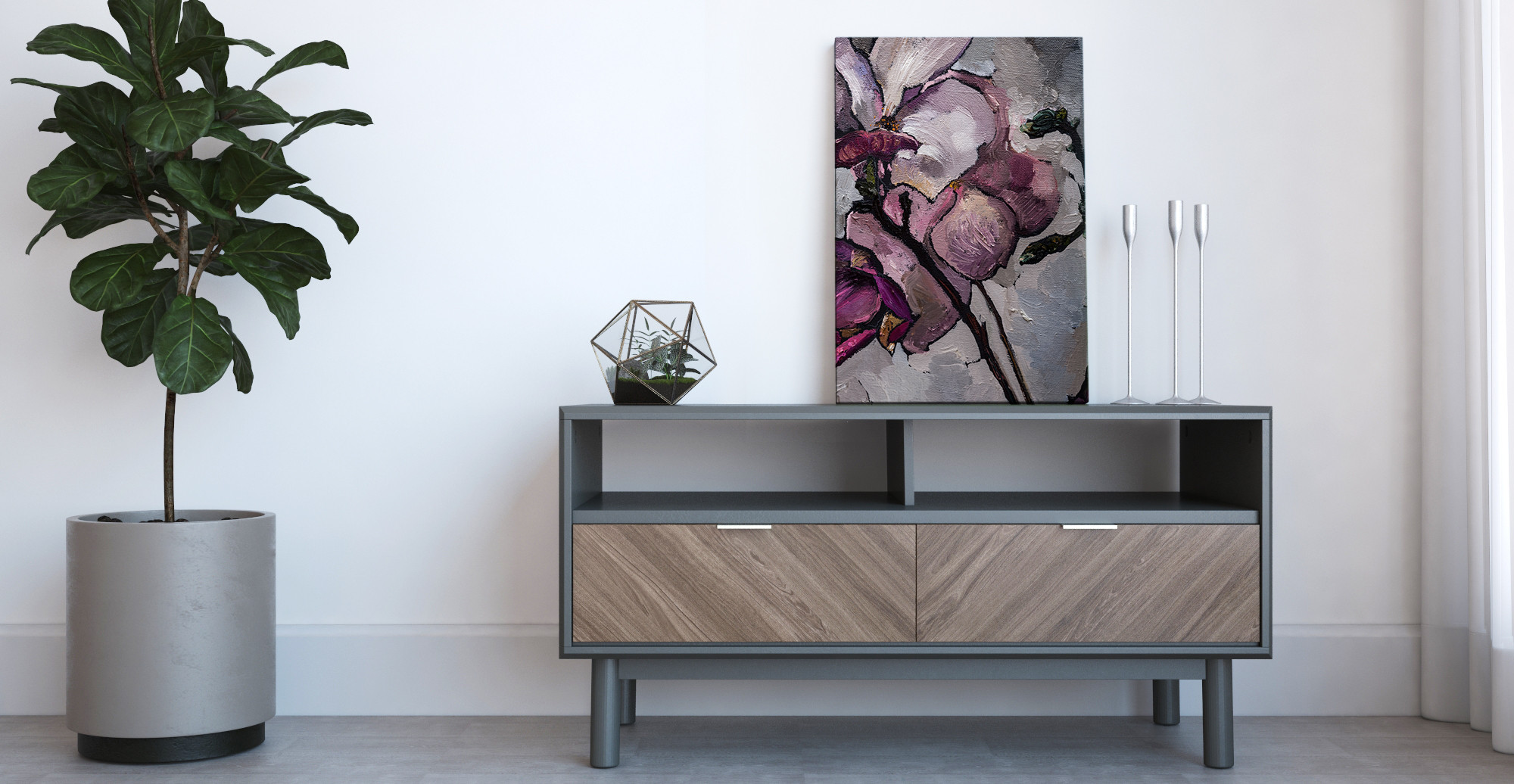 Brosa The Magnolia Print styled in modern contemporary living room