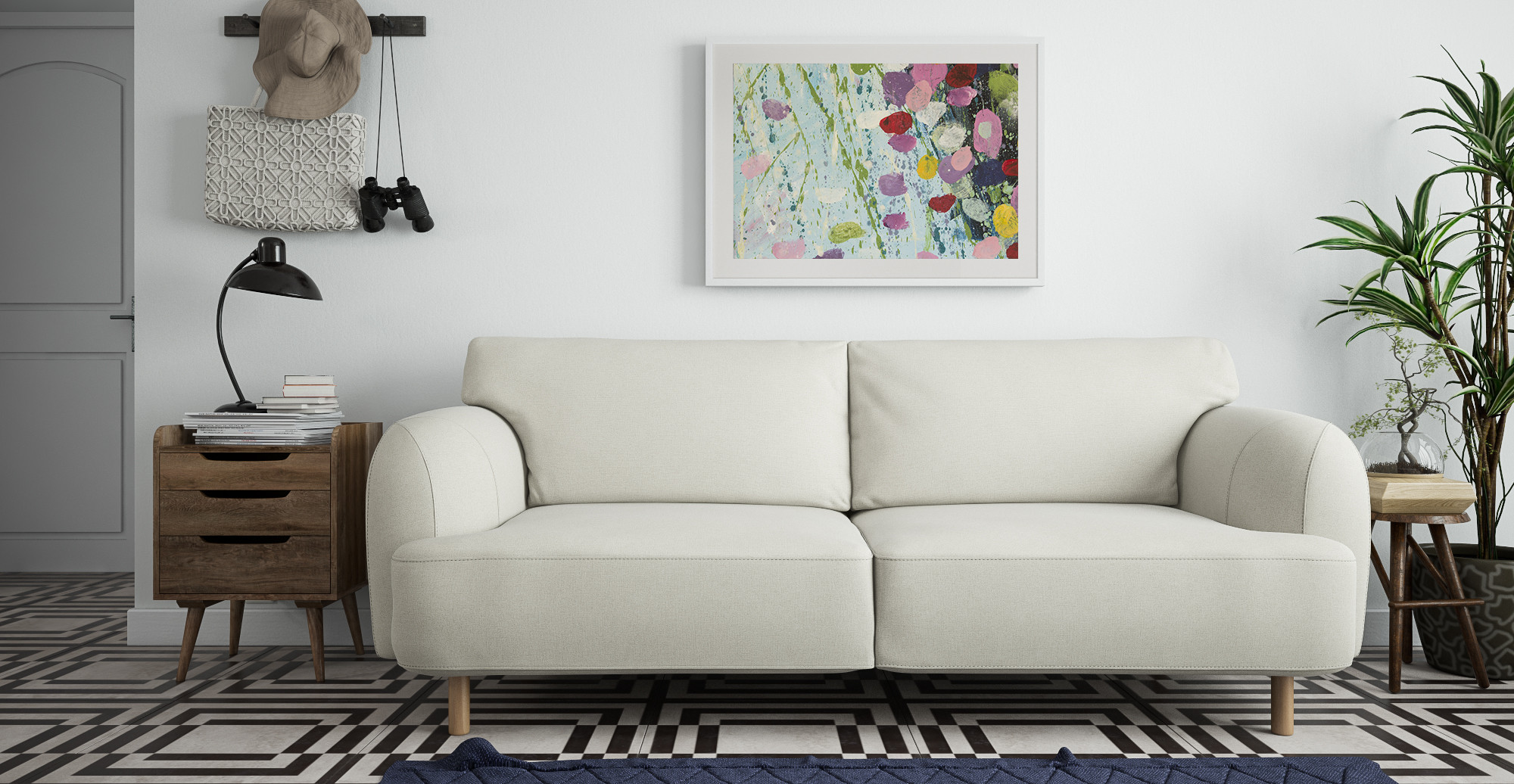The Brosa Perennial Print in modern contemporary living room