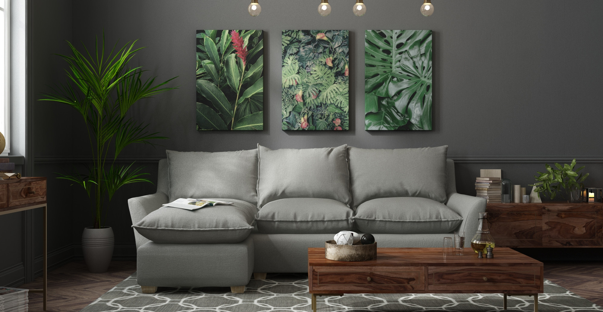 The Brosa Philodendron Print styled in mid century modern living room