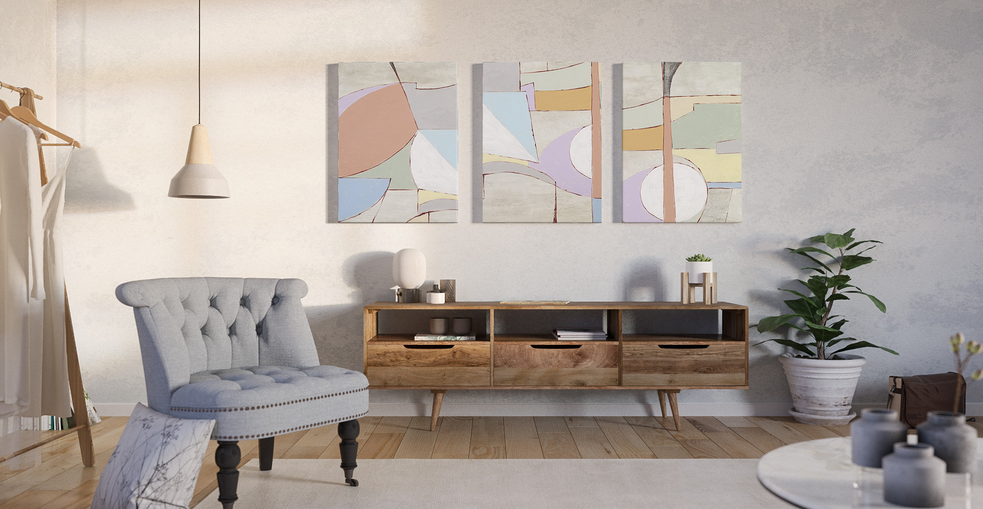 The Brosa Sorbet Triptych Set of 3 styled in Scandinavian living room