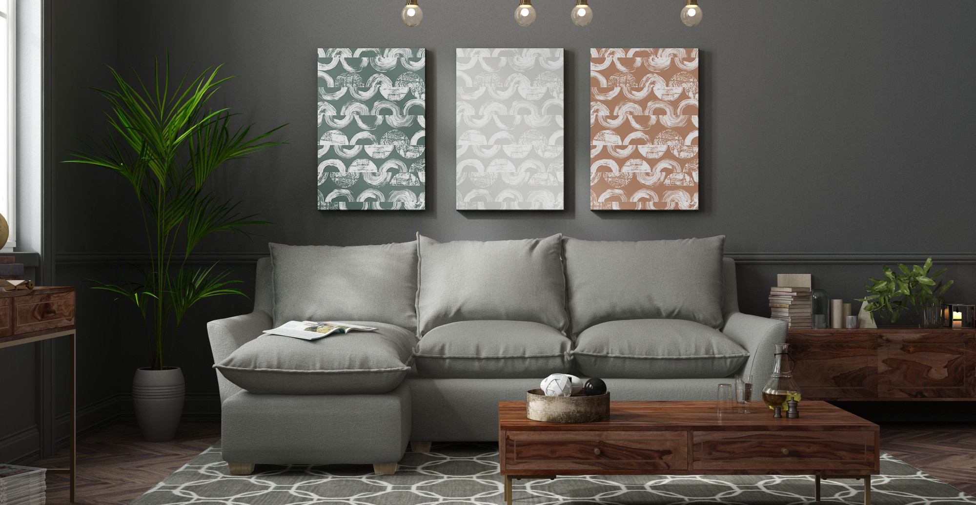 Brosa The Vector Triptych styled in modern contemporary living room