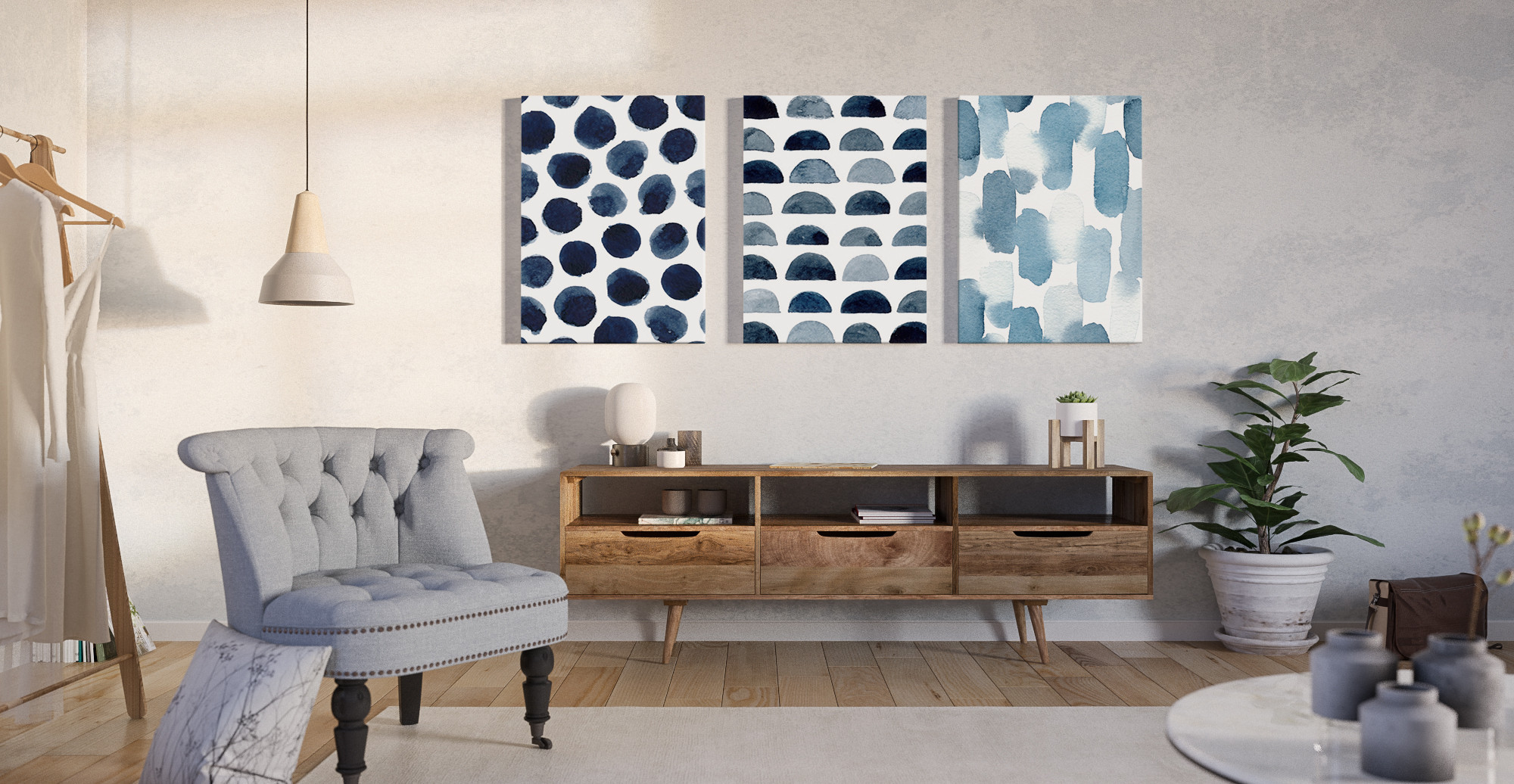 Brosa The Wabi Sabi triptych wall art styled in classic traditional living room