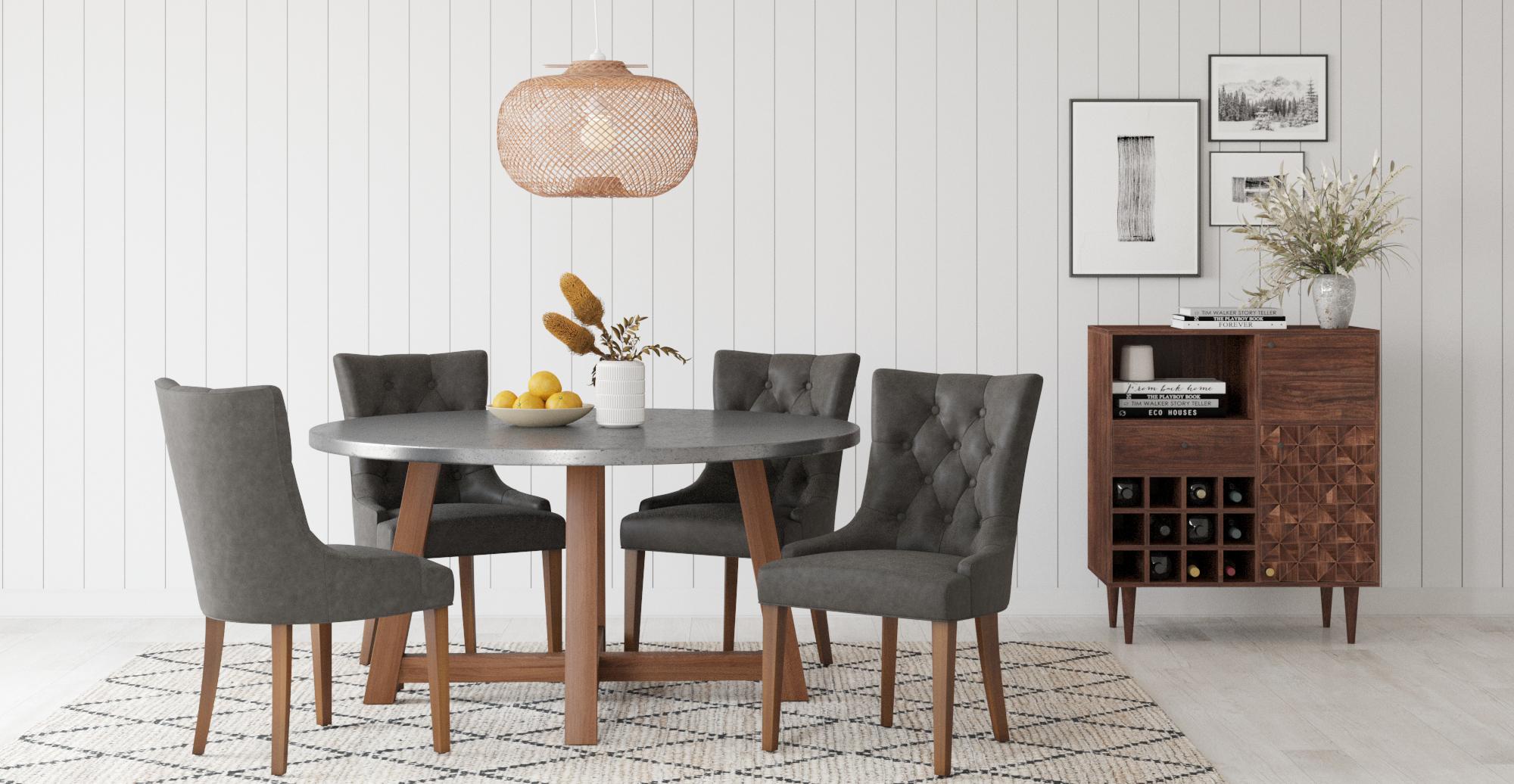 Brosa Carson Bar Cabinet styled in contemporary dining room