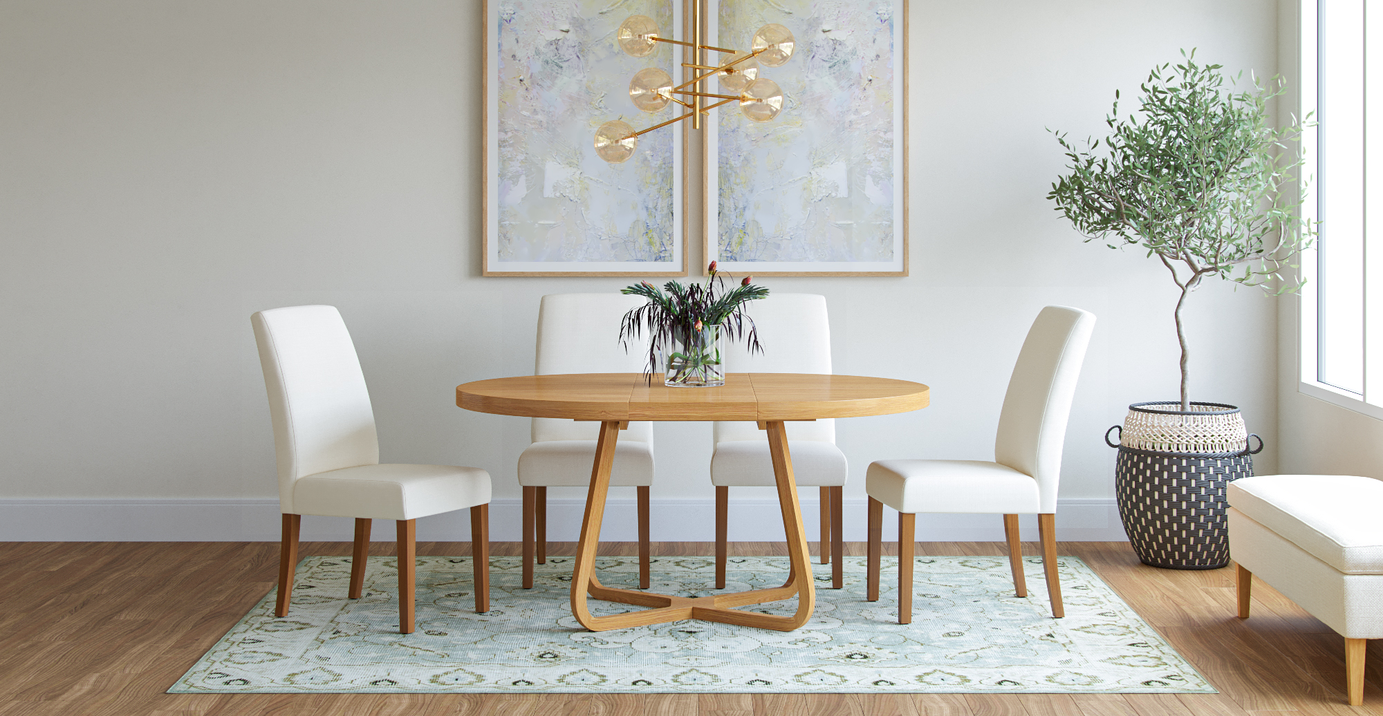 Brosa Romulus Extendable Dining Table styled in Scandinavian dining room