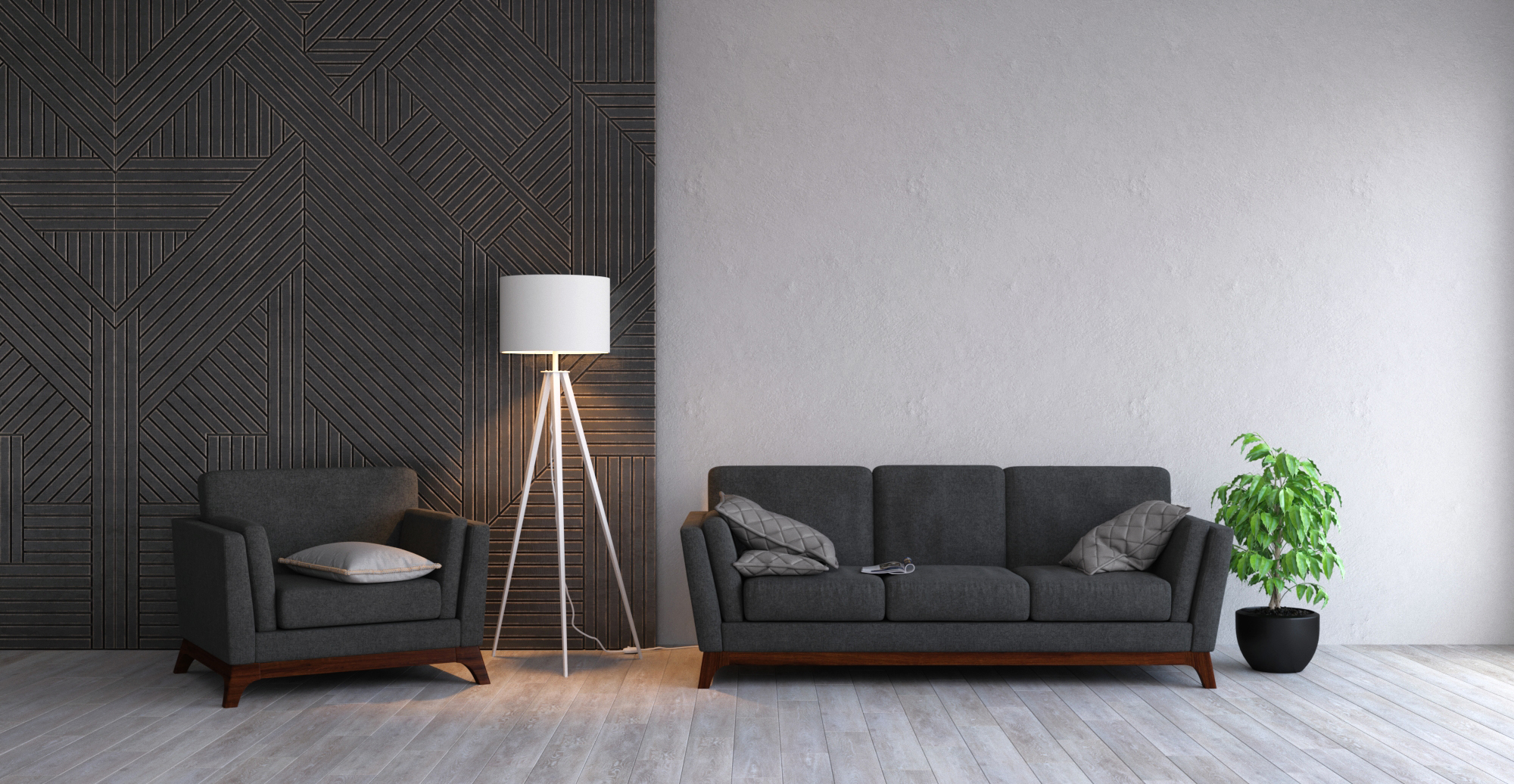 Filt Rectangular Cushion styled in modern contemporary living room