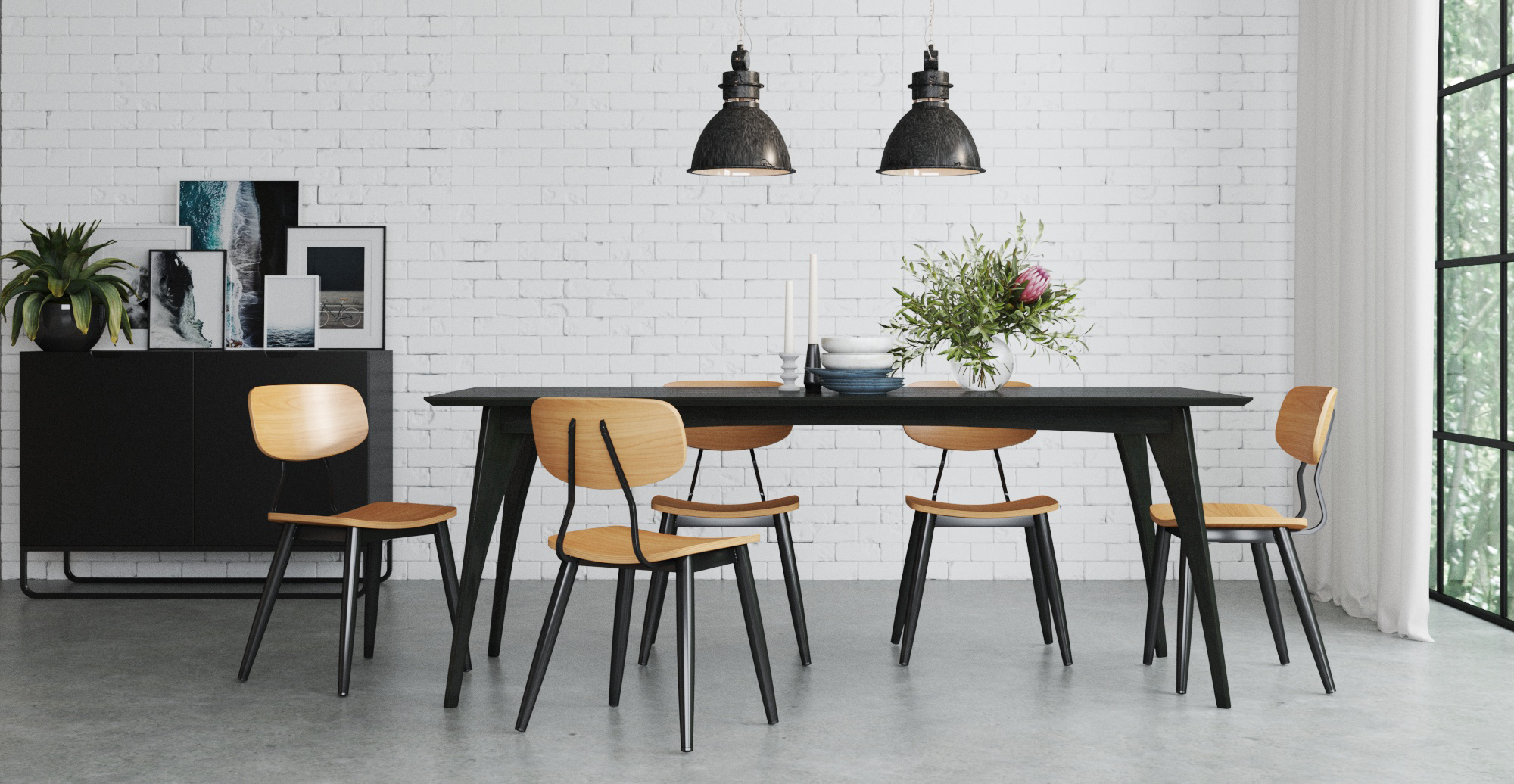 Brosa Gina Dining Table 200cm styled in modern contemporary dining room