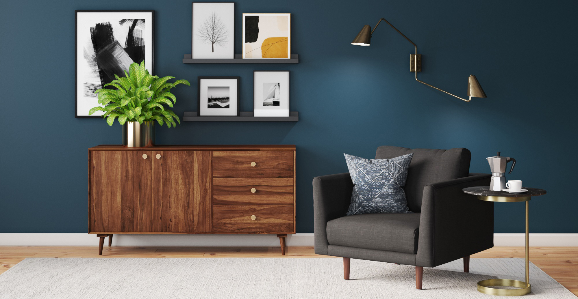 Brosa Cushla Side Table styled in modern contemporary living room