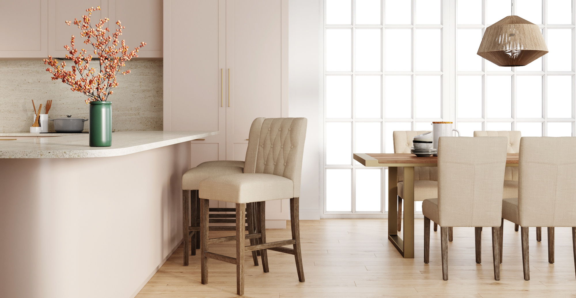 Brosa Espen® Bar Stool styled in classic traditional kitchen