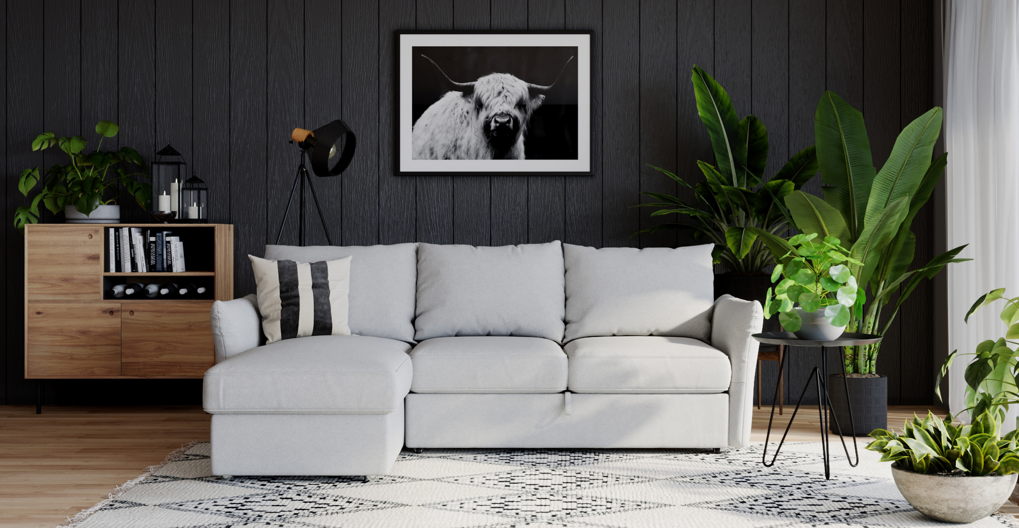 Brosa Austin Full Sleeper Modular Sofa with Storage styled in modern contemporary living room