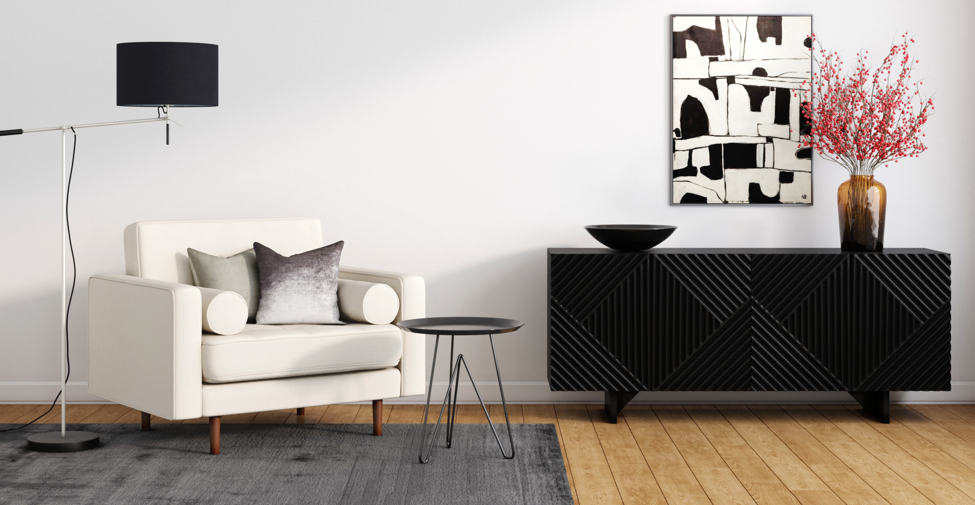 Brosa Marlon Sideboard styled in modern contemporary living room