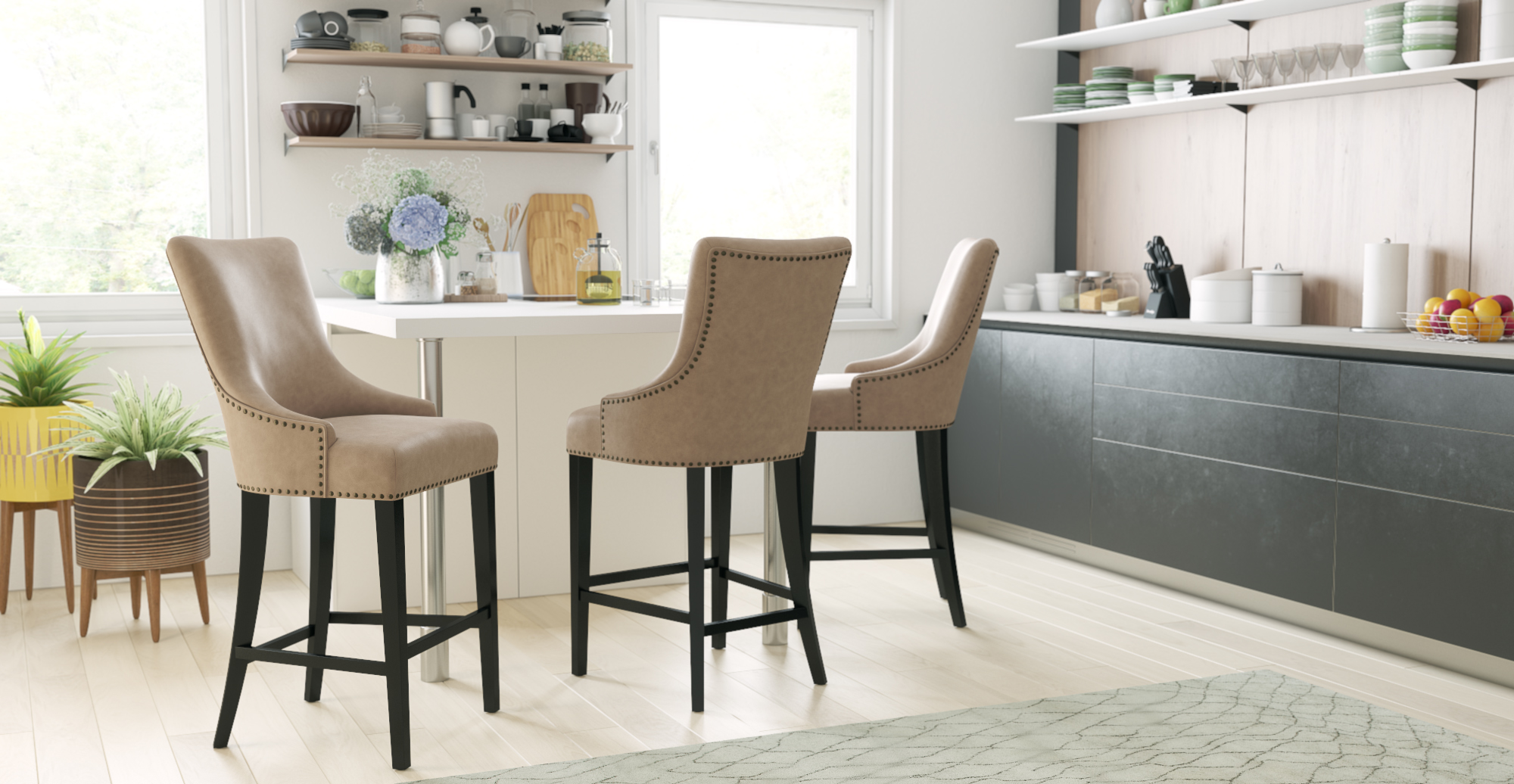 Zoe Leather Bar Stool Low styled in modern contemporary kitchen