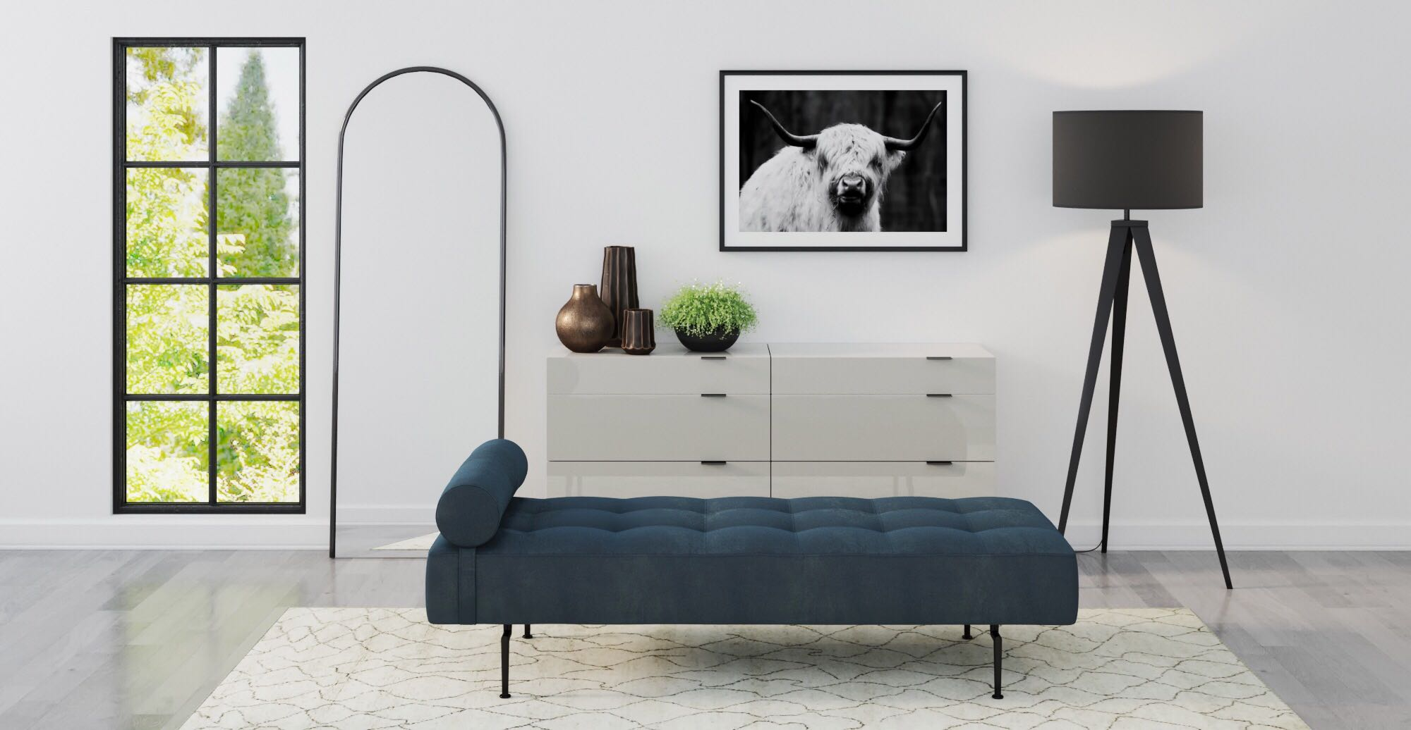 Brosa Harper Daybed styled in modern contemporary room