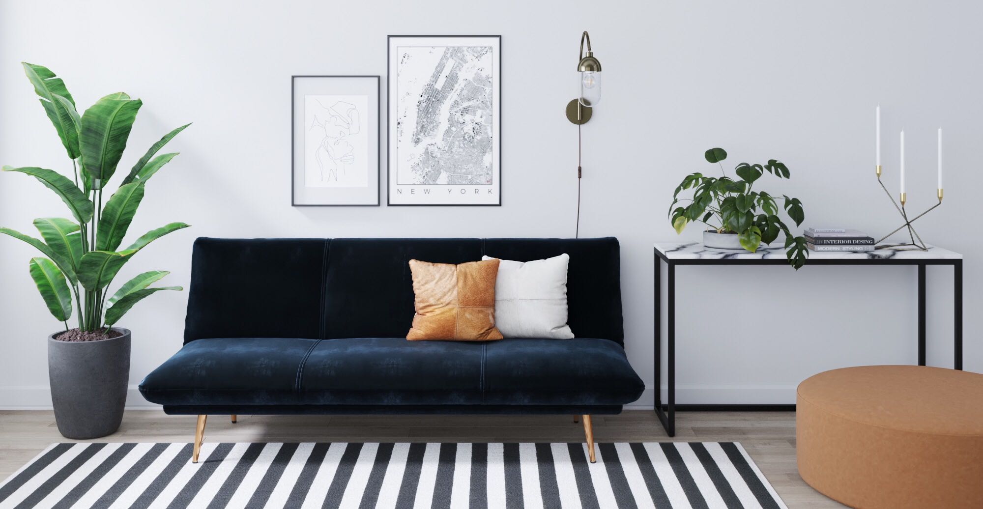 Brosa Lana Sofa Bed styled in new Art Deco living room