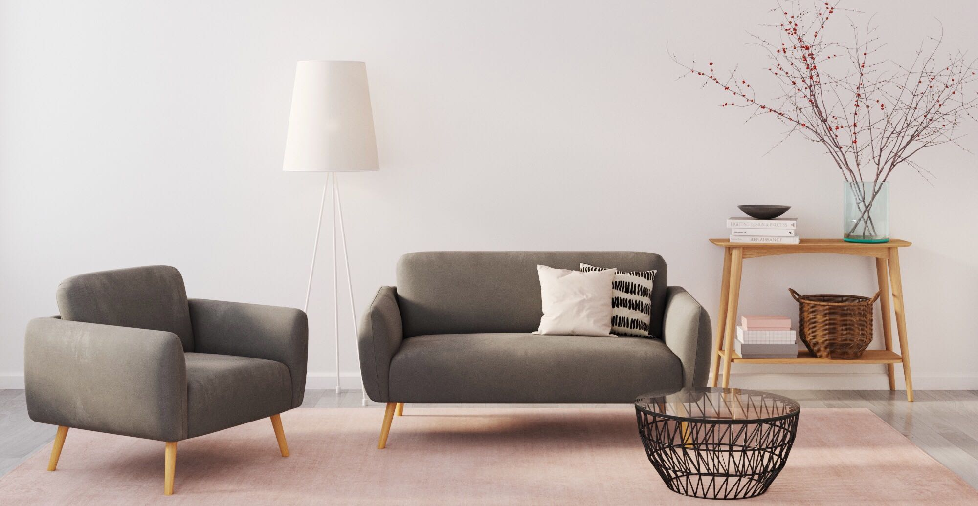 Brosa Mitch 2 Seater Sofa styled in Scandinavian living room