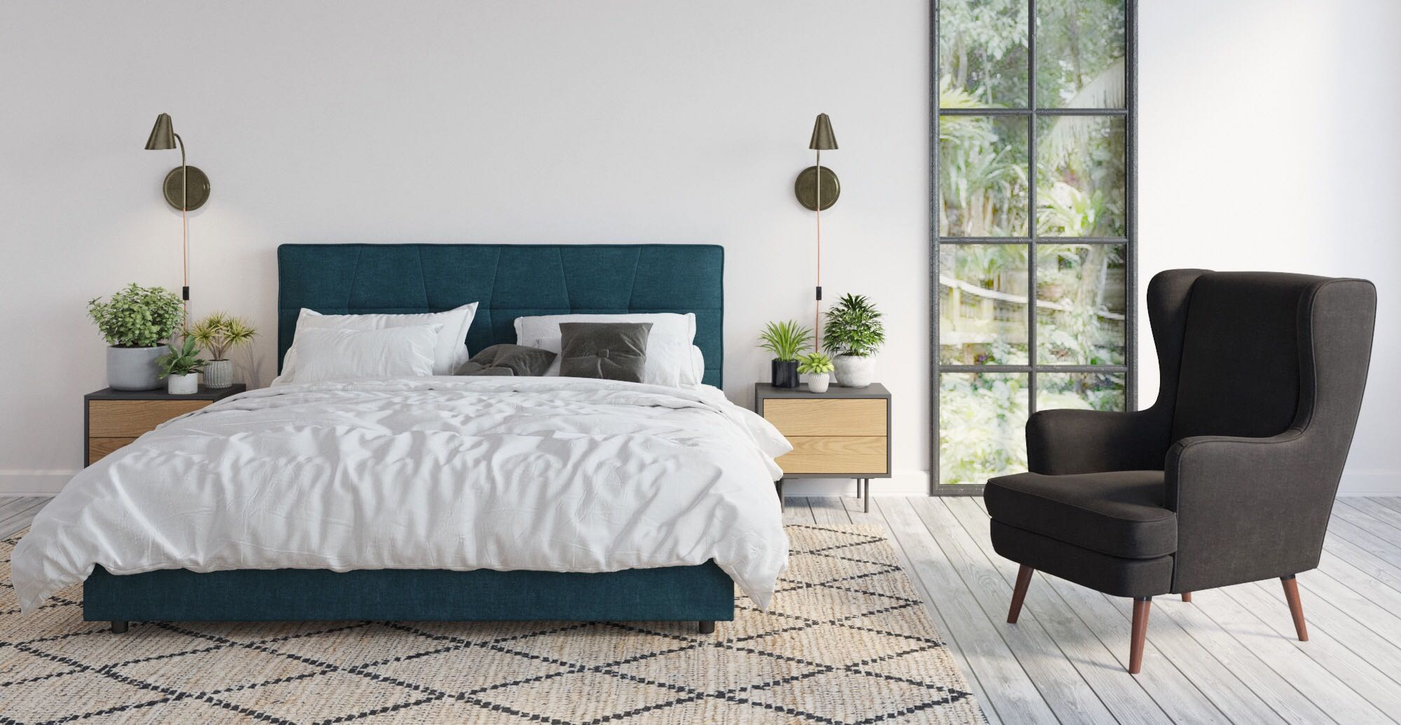 Munich Queen Size Bed Head styled in modern contemporary bedroom