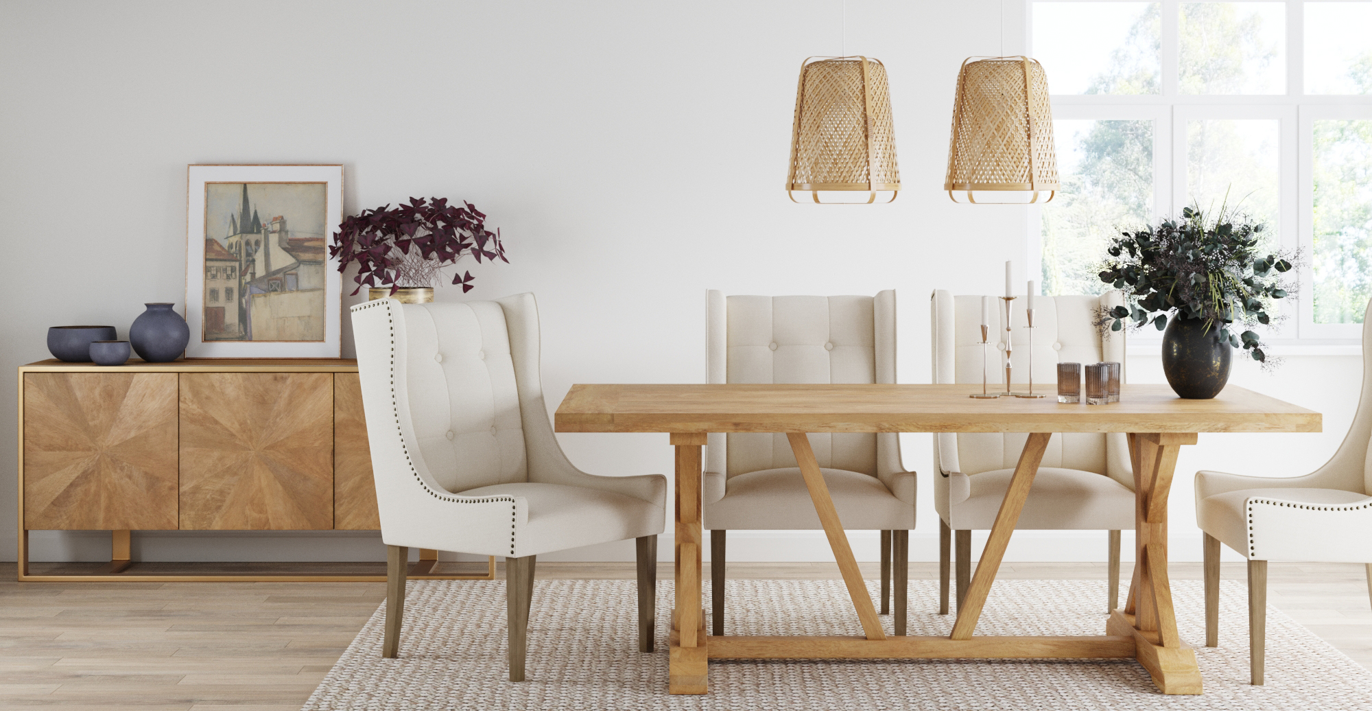 Brosa Ashley Scoop Back Dining Chair styled in classic traditional dining room