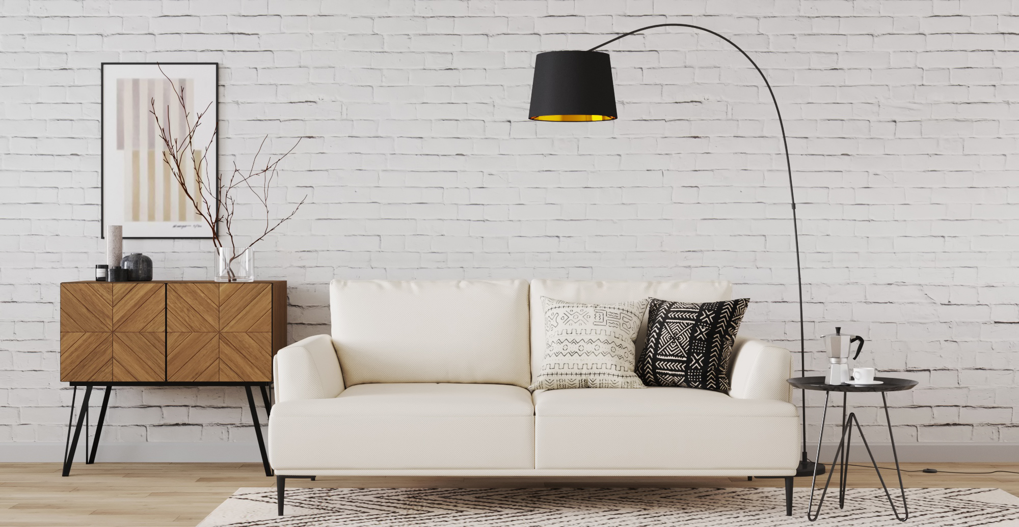 Brosa Como Motion 3 Seater Sofa styled in modern contemporary living room