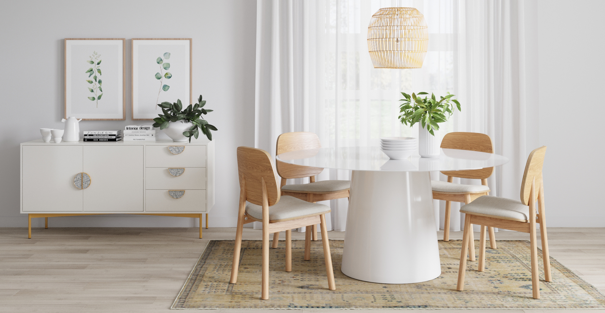 Rug and Brosa Kreis Glass Top Round Dining Table styled in Scandinavian dining room
