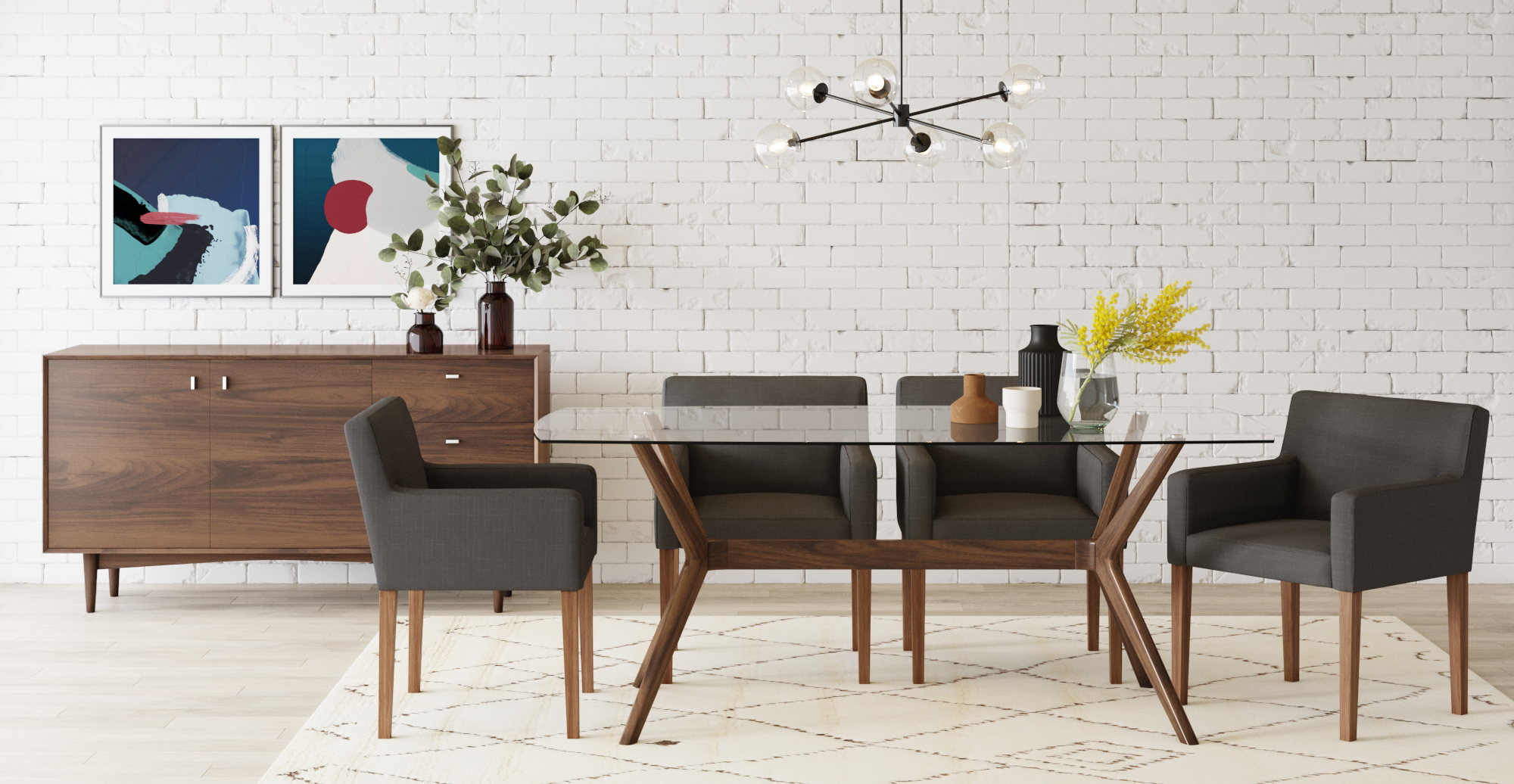 Brosa Olsen Glass Top Dining Table 185cm styled in mid century modern dining room