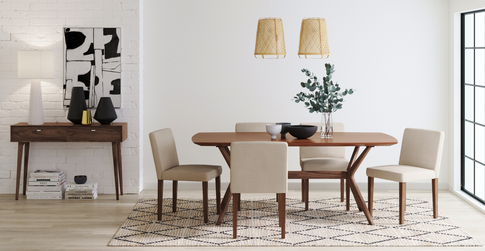 Brosa Olsen Dining Table styled in modern contemporary dining room