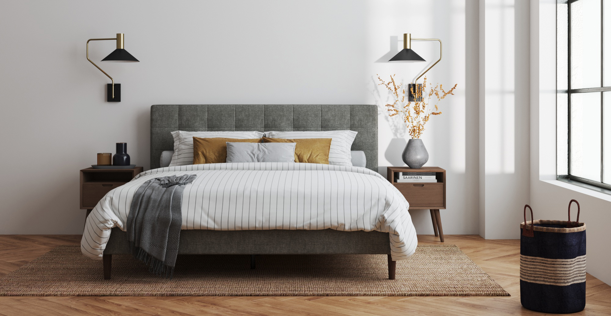 Brosa Richmond King Slim Bed Frame styled in modern contemporary bedroom