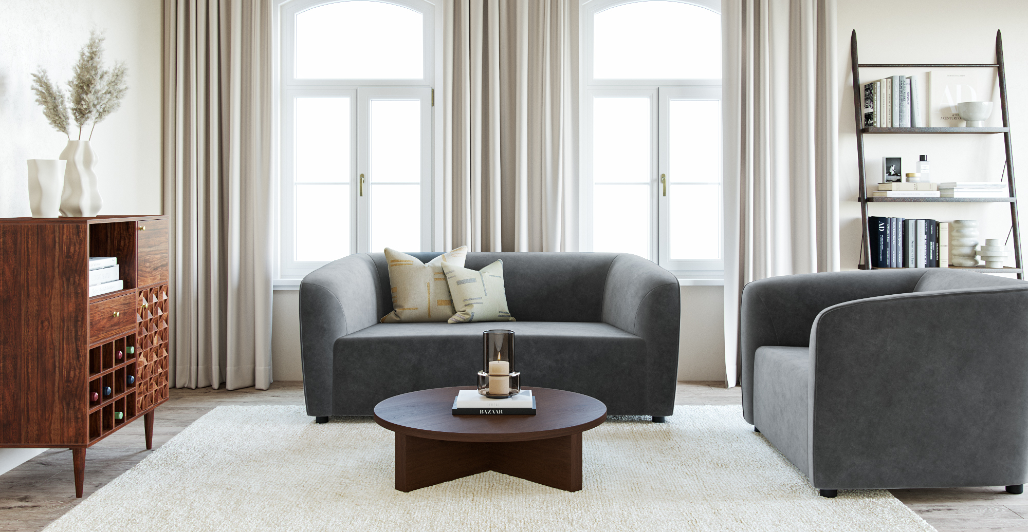 Brosa Henley Low Set Coffee Table styled in mid-century modern living room