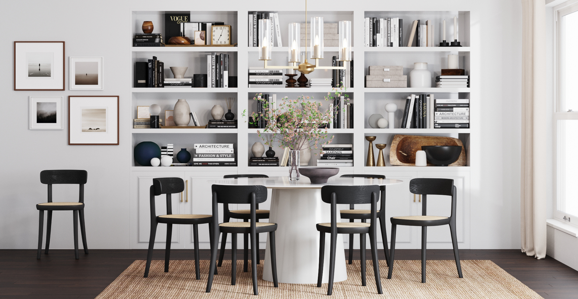 Brosa Bianca Dining Chairs and Kreis Dining Table styled in new Art Deco dining room