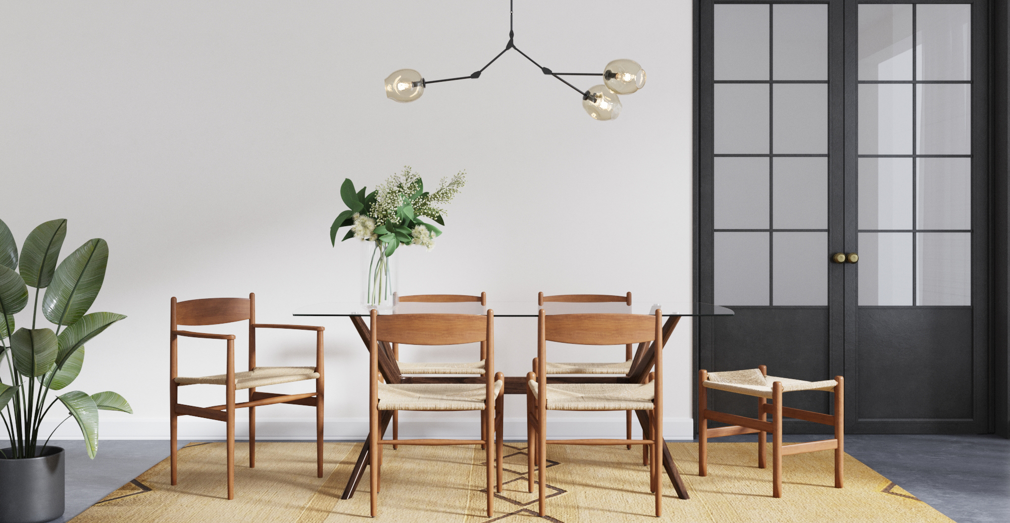 Brosa Harvey Bench styled in contemporary dining room