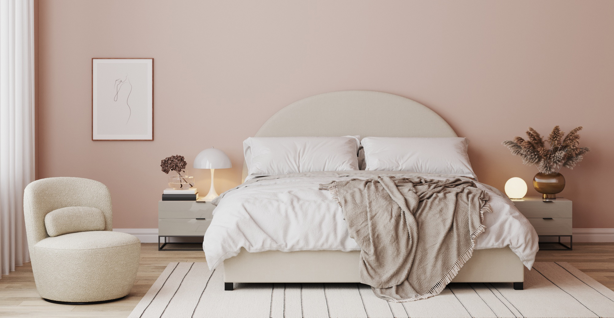 Brosa Arch Queen Gaslift Bed Frame styled in new Art Deco bedroom