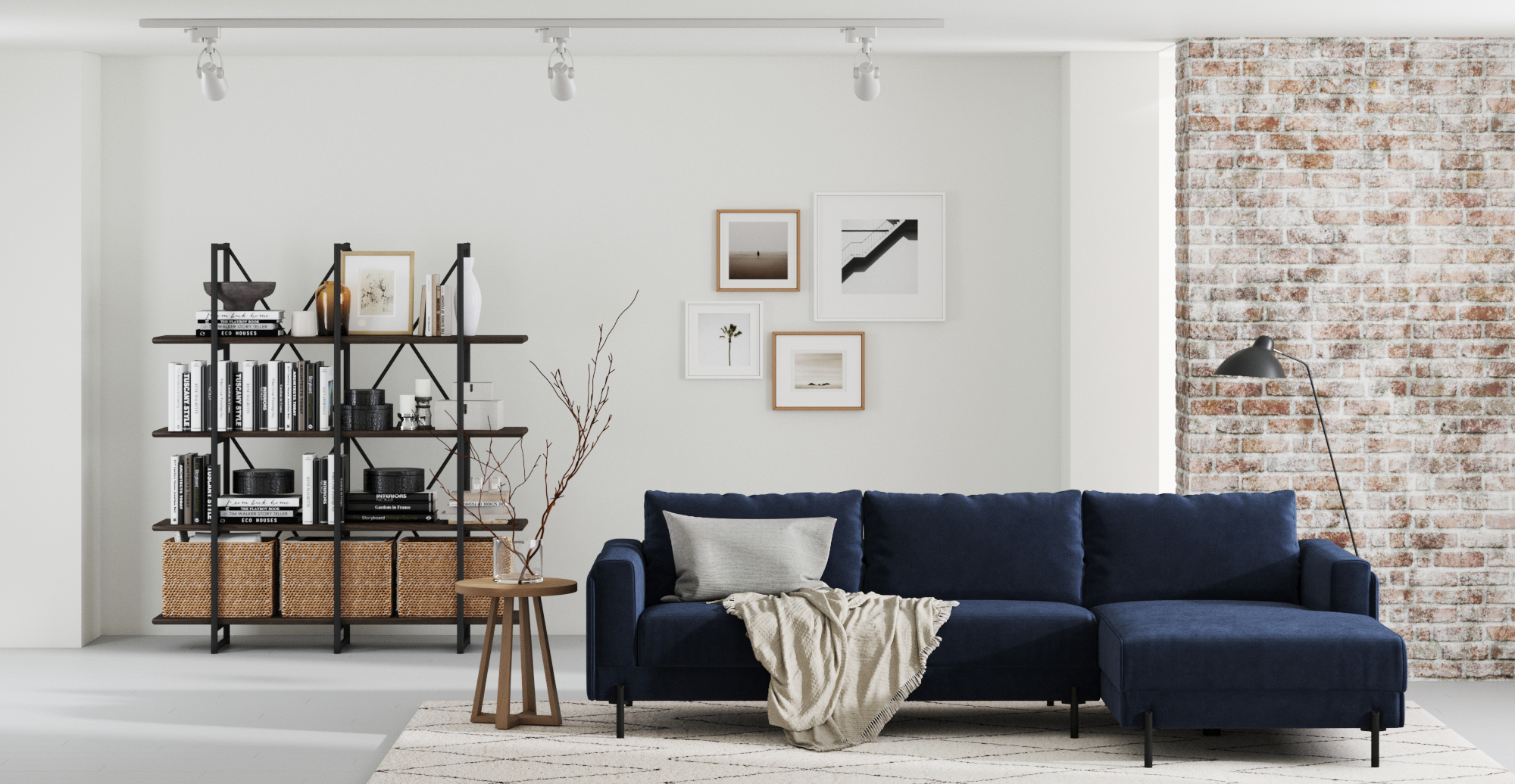 Brosa Rodin Modular Sofa with Chaise styled in mid-century modern living room