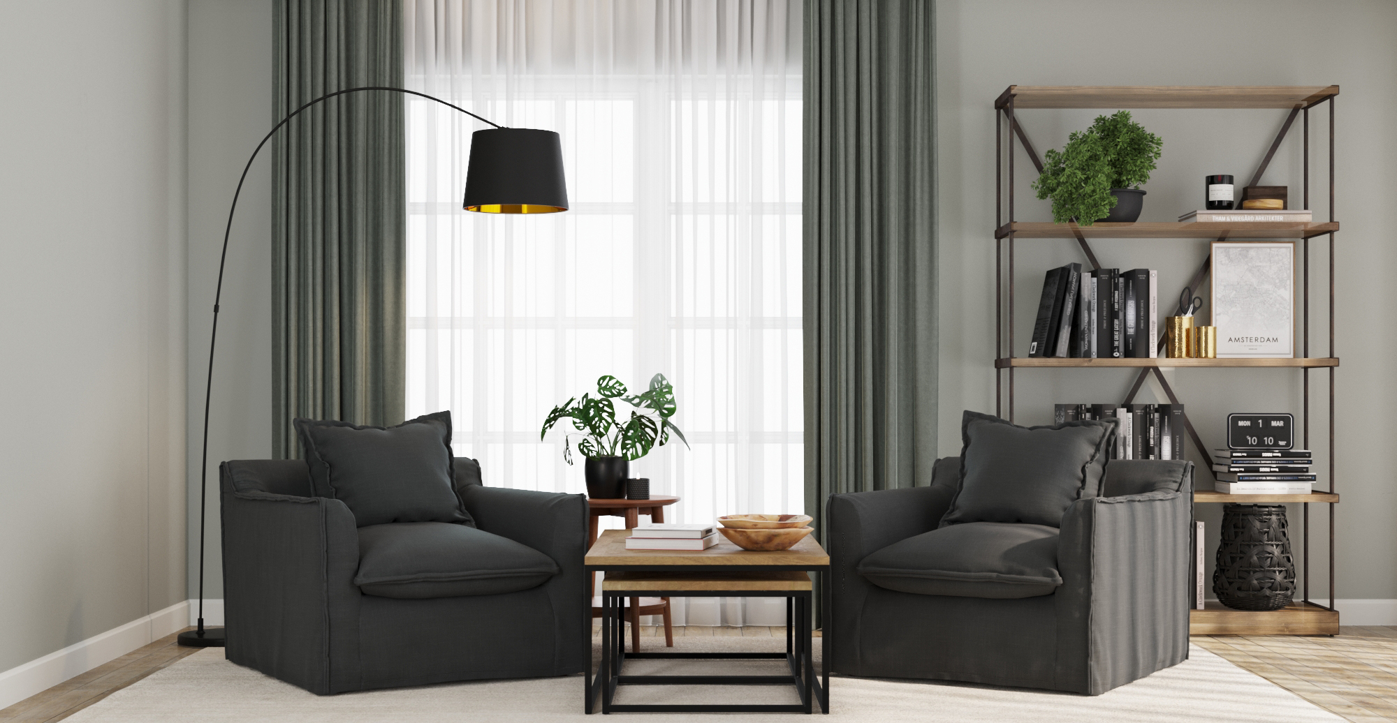 Brosa Palermo Armchair styled in modern contemporary living room