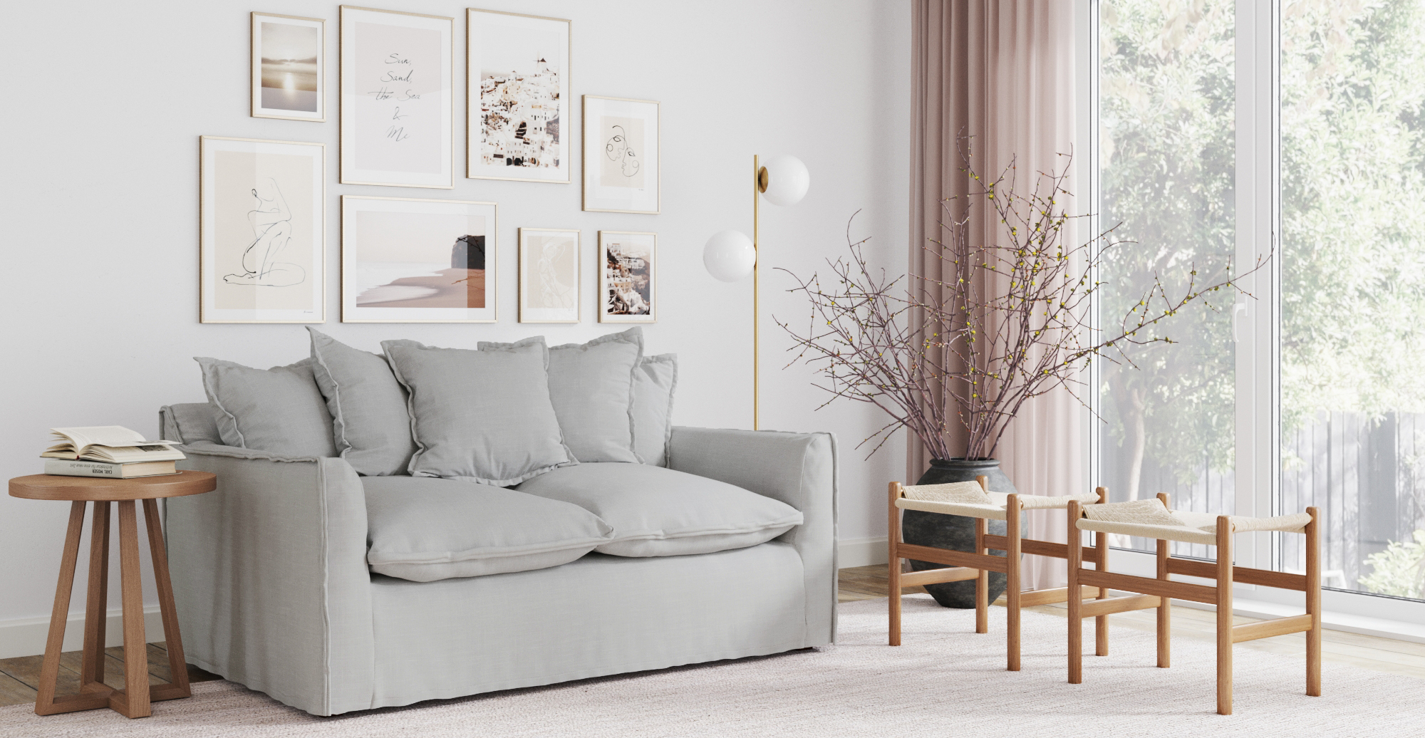 Brosa Palermo 2 Seater Sofa styled in Scandinavian living room