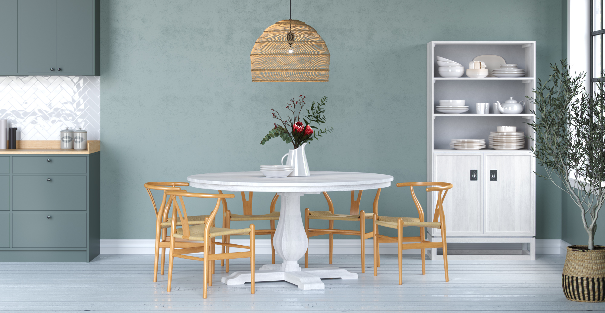 Brosa Darby Round Dining Table 150cm styled in coastal dining room