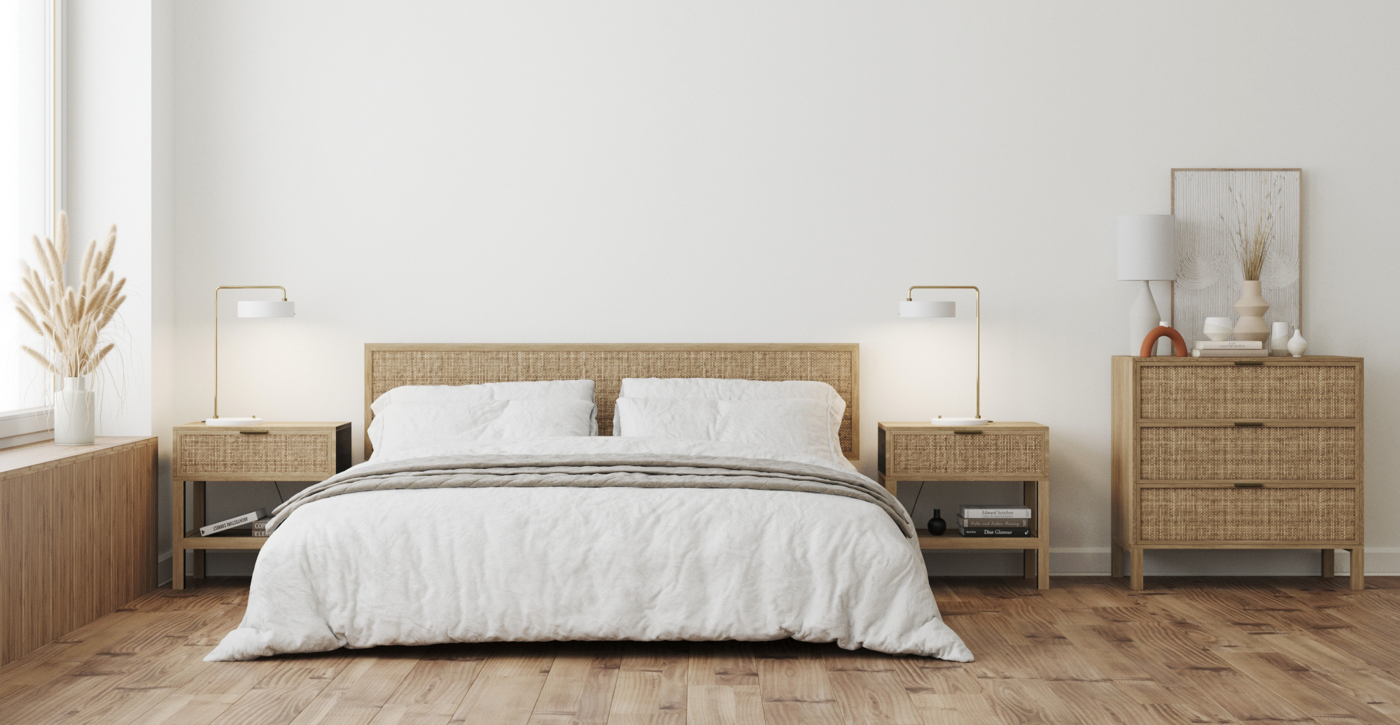 Brosa Caledonia Rattan Queen Size Bed Frame styled in coastal bedroom