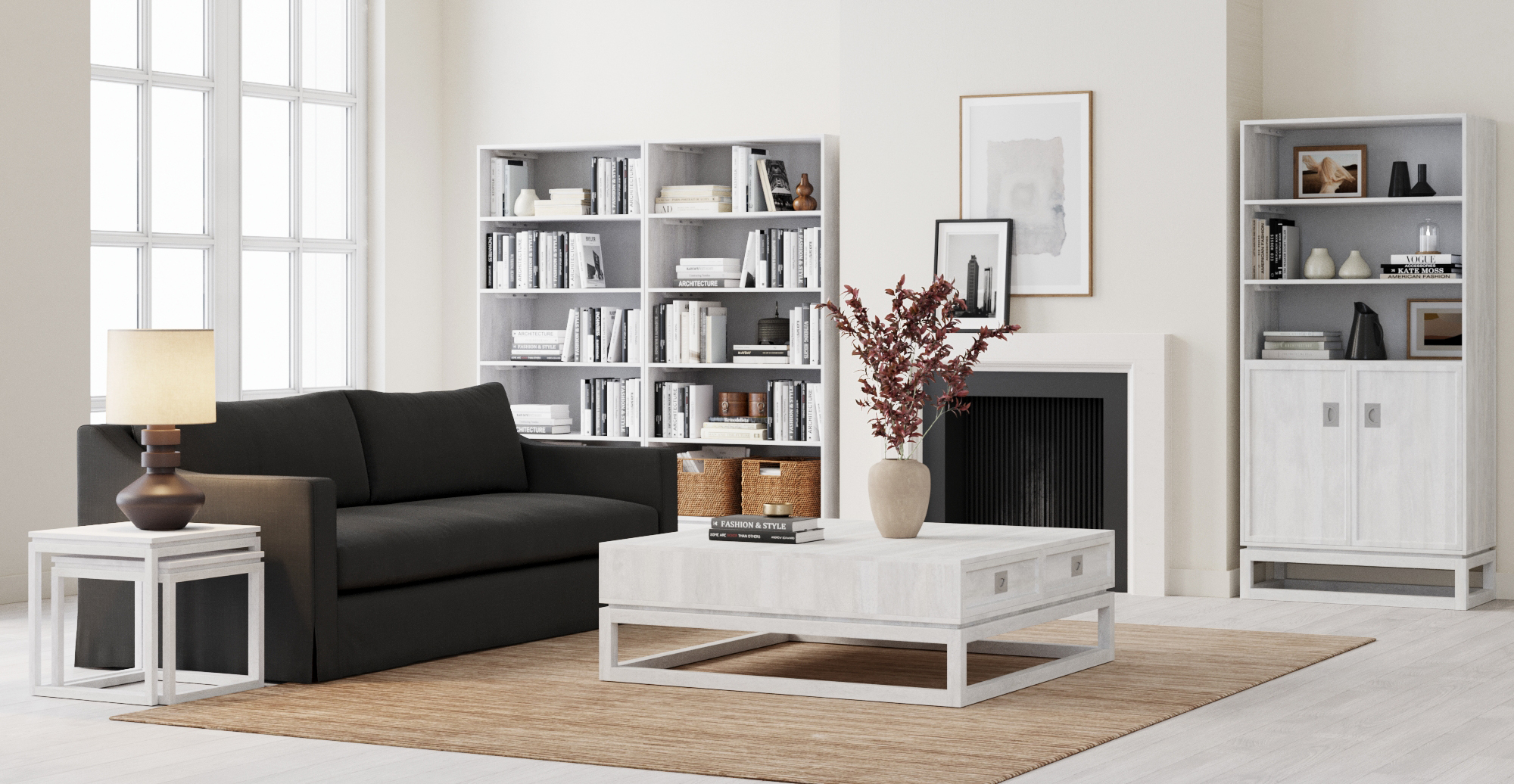 Monterey Hamptons Style Bookcase styled in Hamptons living room