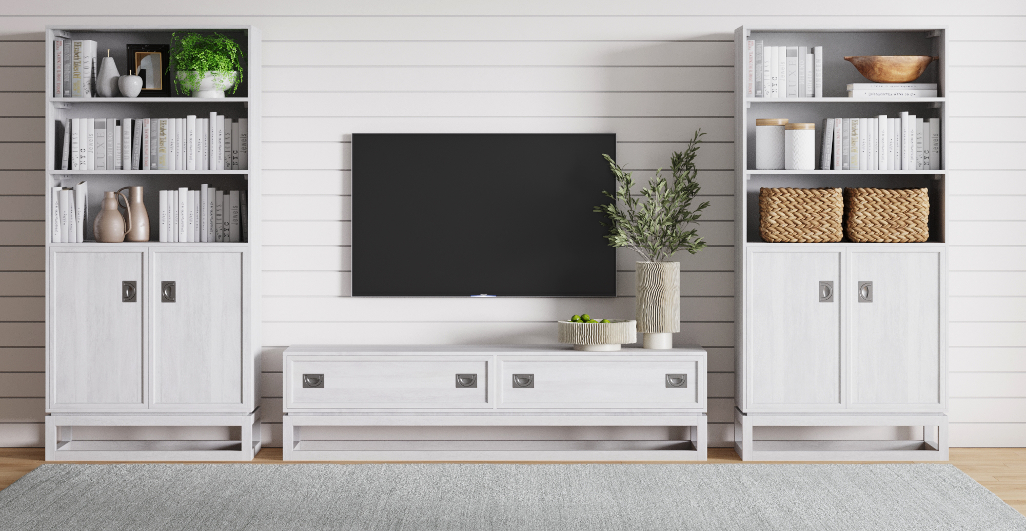 Brosa Monterey Hamptons Style Large Entertainment Unit styled in Hamptons living room