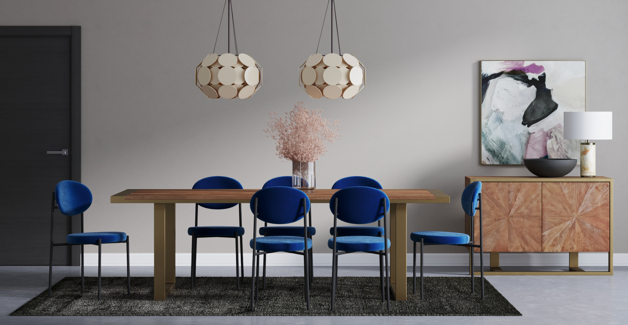 Brosa Artemis Dining Table and Sophie Dining Chairs styled in modern contemporary dining room