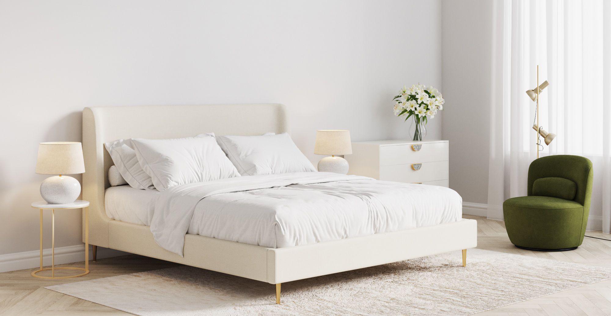 Brosa Gia King Size Bed Frame styled in coastal bedroom
