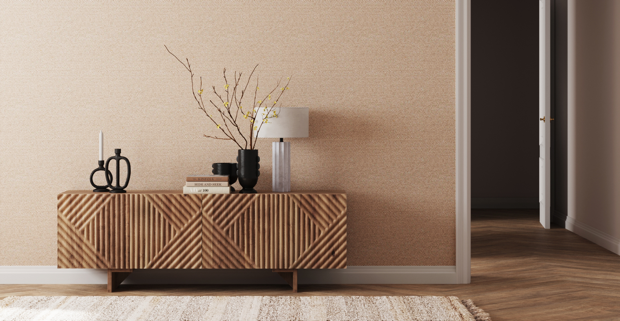 Brosa Marlon Entertainment Unit styled in modern contemporary entryway
