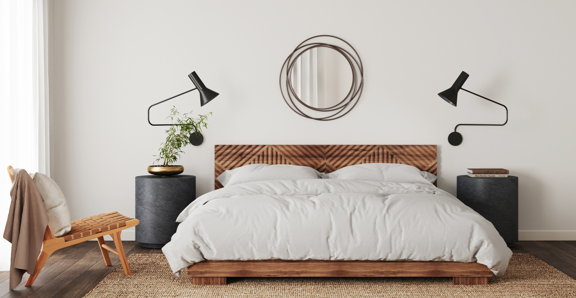 Brosa Marlon Queen Size Bed Frame styled in mid century modern bedroom