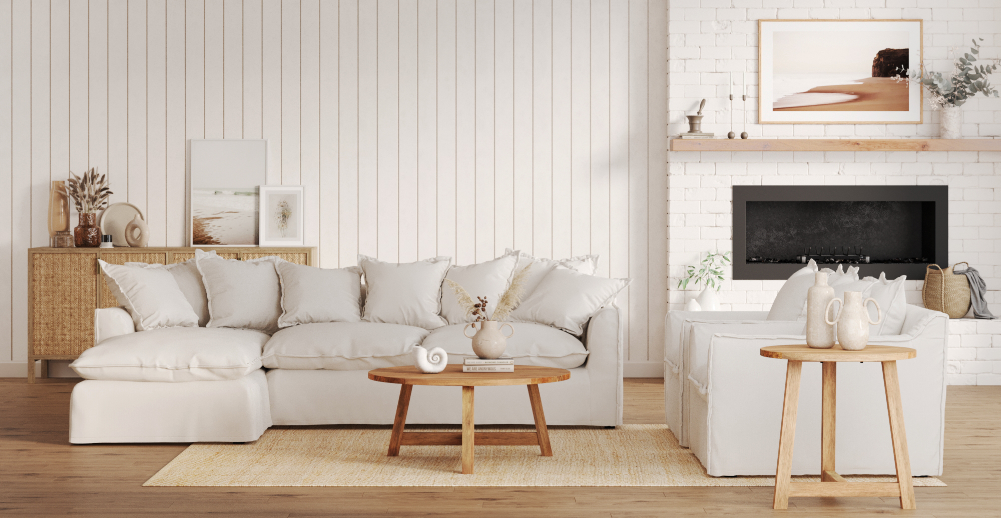 Brosa Palermo 3 Seater Modular Sofa with Chaise styled in coastal living room