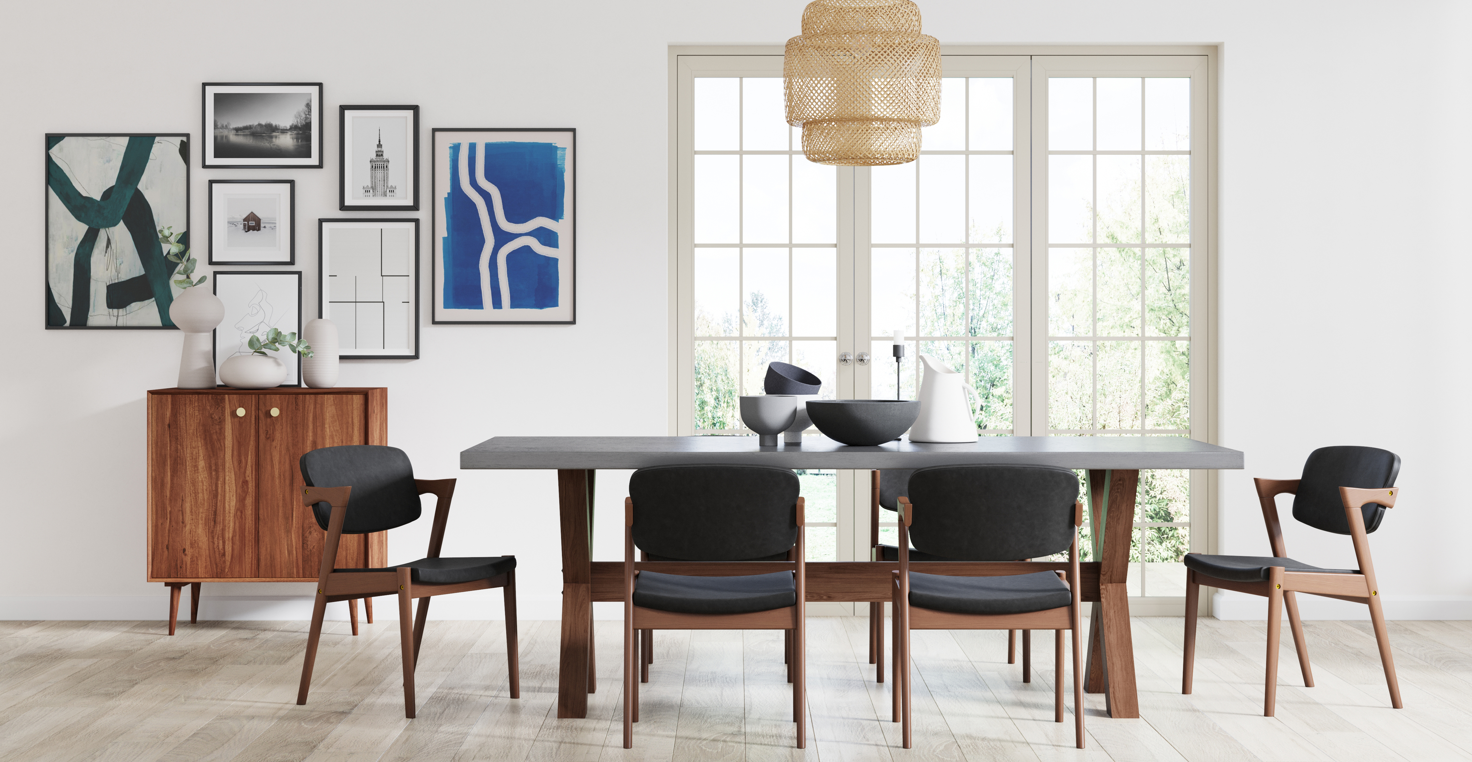 Brosa Ingrid Set of 2 Dining Chairs styled in mid century modern dining room