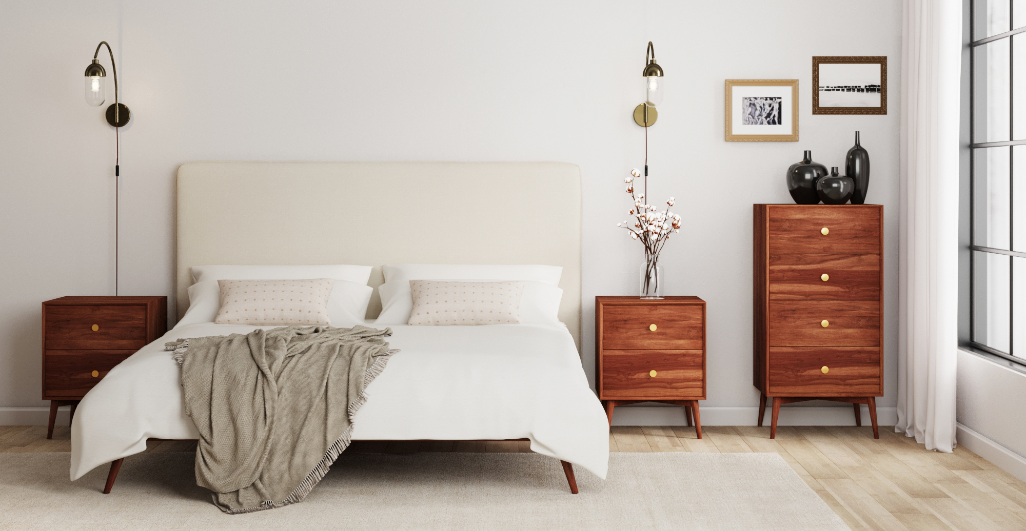 Brosa Sara and Frank King Size Bed Frame styled in mid century modern bedroom