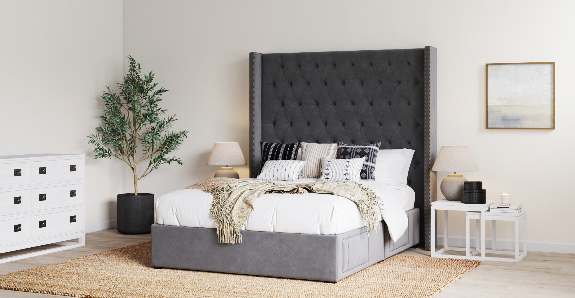 Brosa Stella Tall King Size Upholstered Bed Frame with Drawers styled in classic traditional bedroom