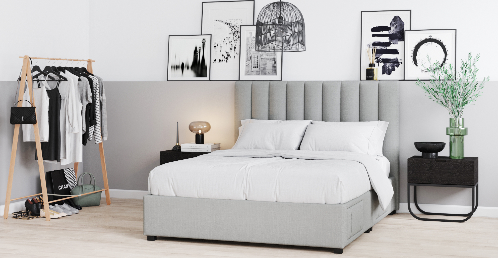 Brosa Megan Queen Size Upholstered Bed Frame with Drawers styled in classic traditional bedroom