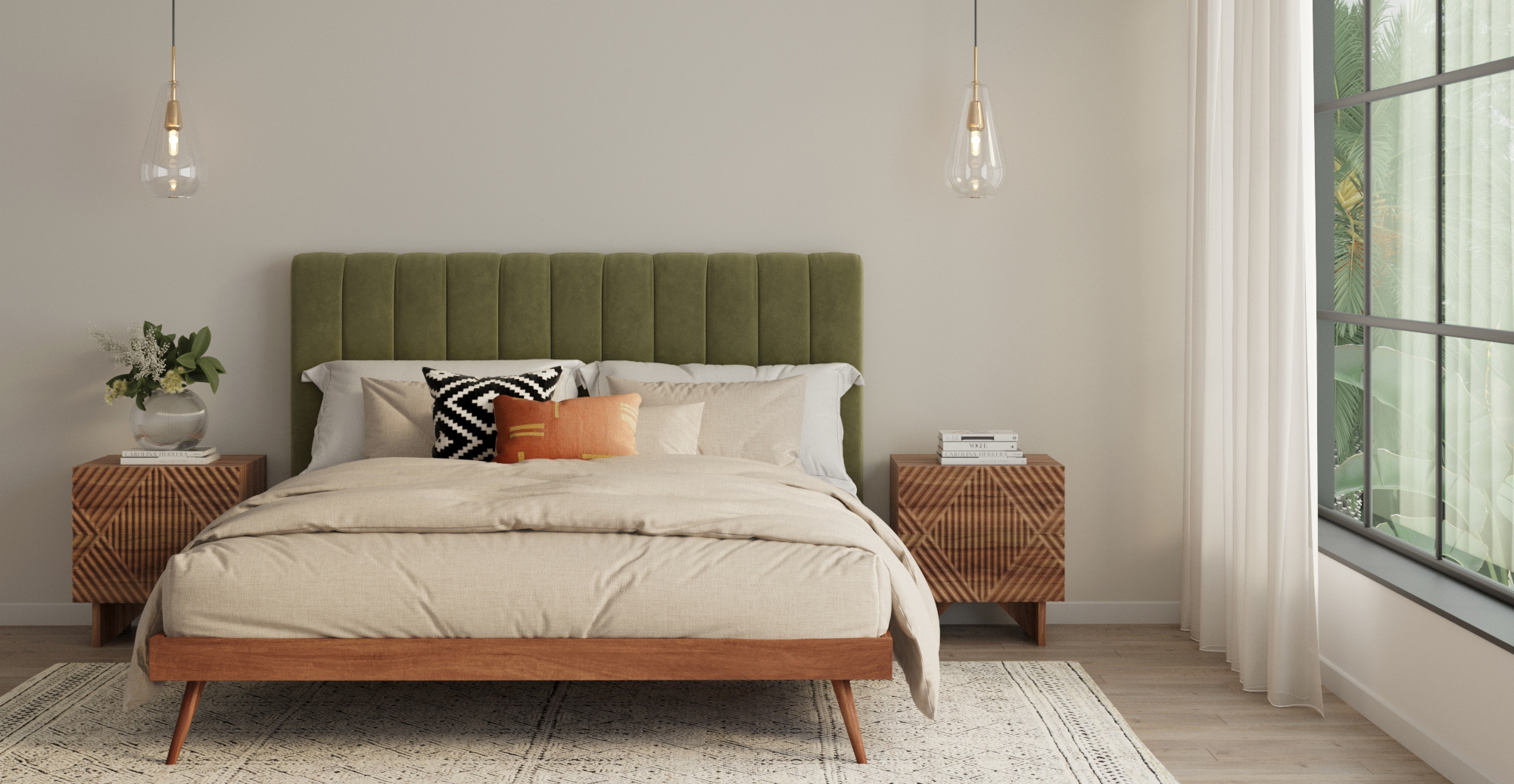 Brosa Megan and Frank King Size Bed Frame styled in mid century modern bedroom