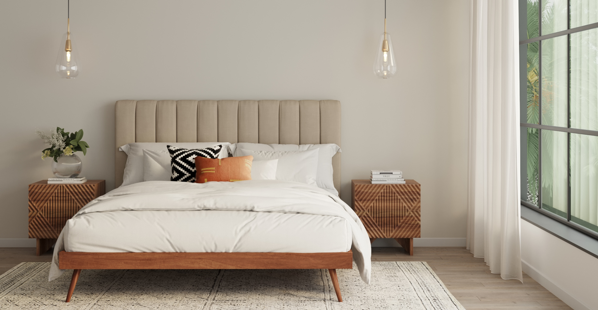 Brosa Megan and Frank Queen Size Bed Frame styled in mid century modern bedroom