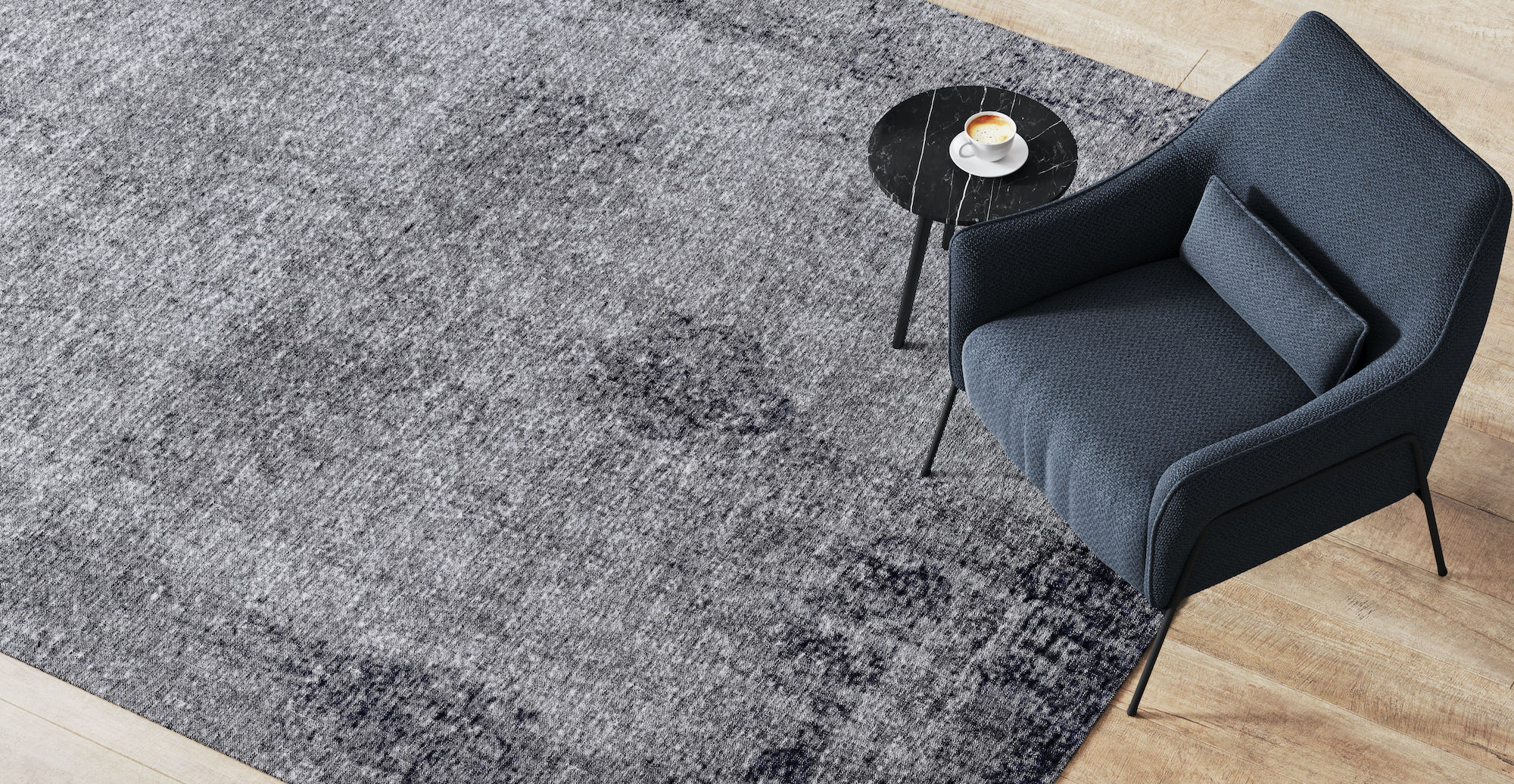Brosa Mecca Ash Silver Vintage Rug styled with Bailey Armchair